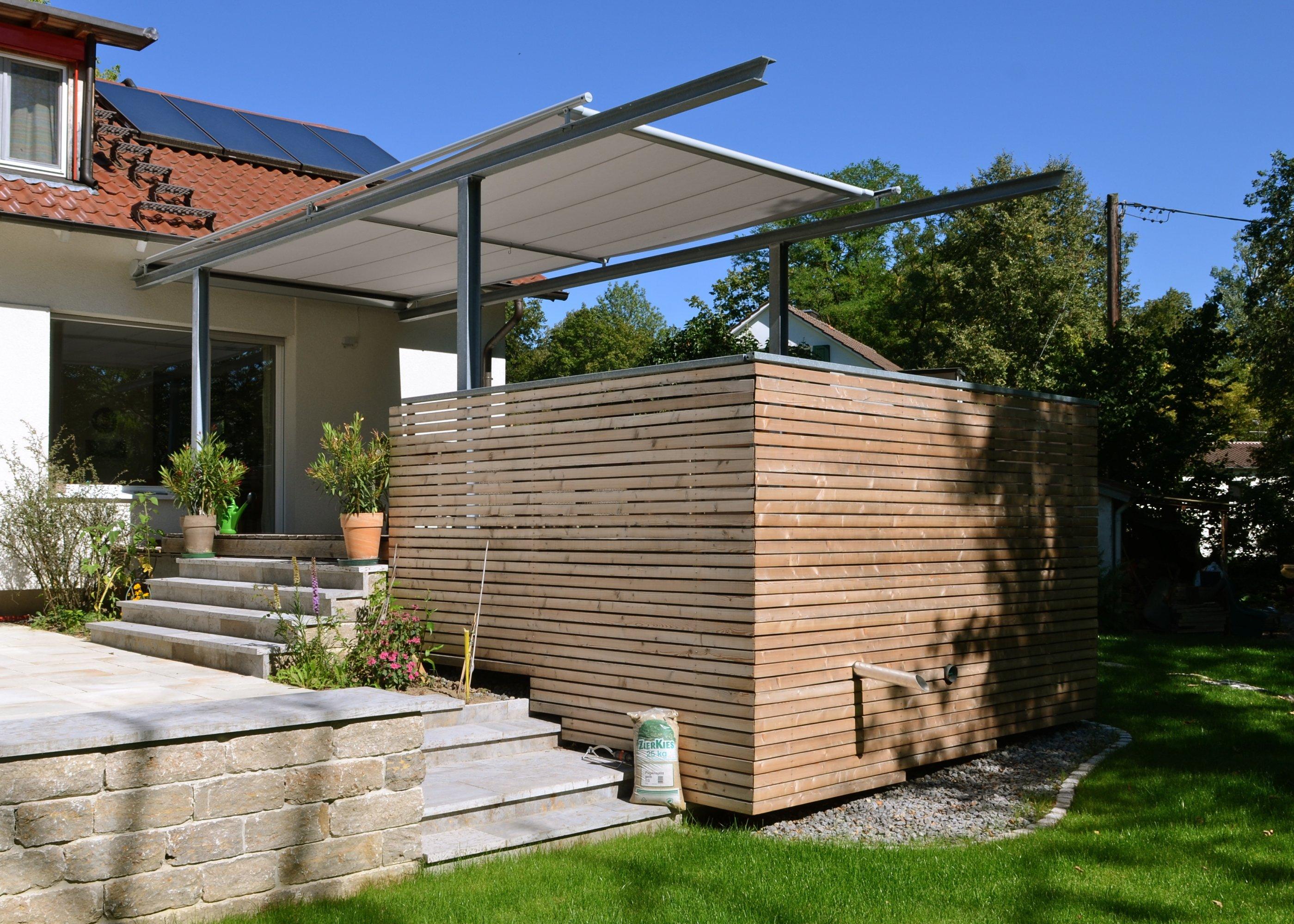 terrassen berdachung mit markise stahlbau n gele. Black Bedroom Furniture Sets. Home Design Ideas