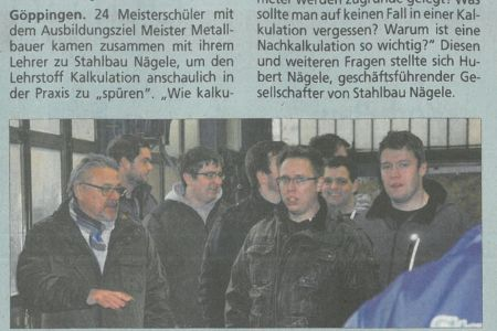 Meisterschüler-Besuch Stahlbau Nägele-Betriebsführung