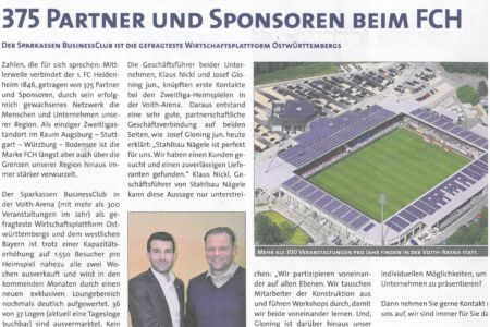 Bericht Stadionmagazin 1. FC HDH - Stahlbau Nägele und Gloning Krantechnik starke Partner Bereich Stahlbau