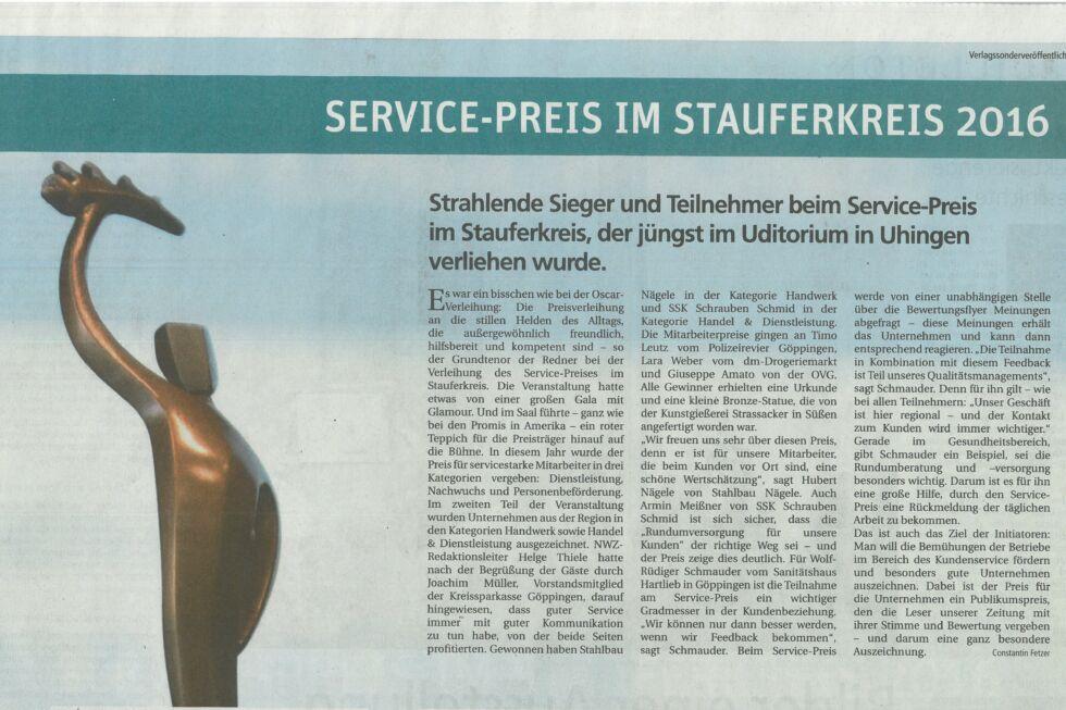 Service-Preis im Stauferkreis-Stahlbau Nägele-Handwerk