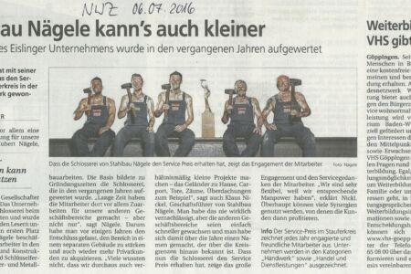 NWZ-Auszeichnung Service-Preis im Stauferkreis-Stahlbau-Schlosserei-Schlosser- und Metallbauarbeiten