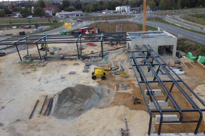 Stahlbau-Neubau Automatentankstelle-Wertingen-Stahlkonstruktion