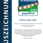 Yourfirm-Top-Arbeitgeber im Mittelstand-Yourfirm-Auszeichnung Stahlbau Nägele