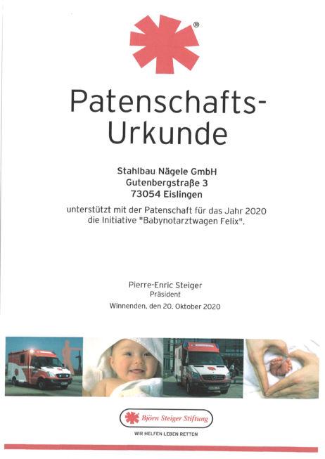 bei-Björn Steiger Stiftung-Urkunde-Babynotarztwagen Felix