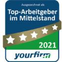 """Die Jobbörse Yourfirm.de kürt die 1.000 """"Top-Arbeitgeber im Mittelstand"""". Wir sind einer davon! Yourfirm.de gibt den Kandidaten noch mehr Orientierung auf der Suche nach interessanten Arbeitgebern im Mittelstand"""